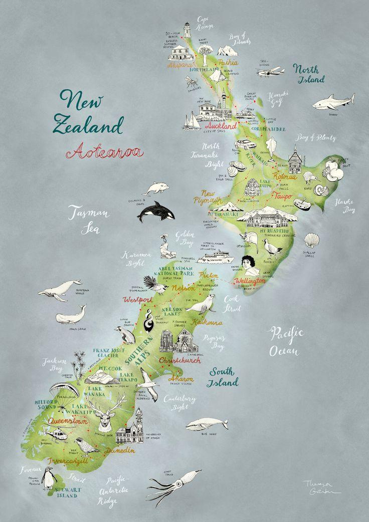 Neuseeland illustrierte Landkarte, Aotearoa, Kunstdruck, Großformat Plakat, schöne Reise-Illustration, in grün, blau, rot, naturweiß, neu – Hannah Schlitzer