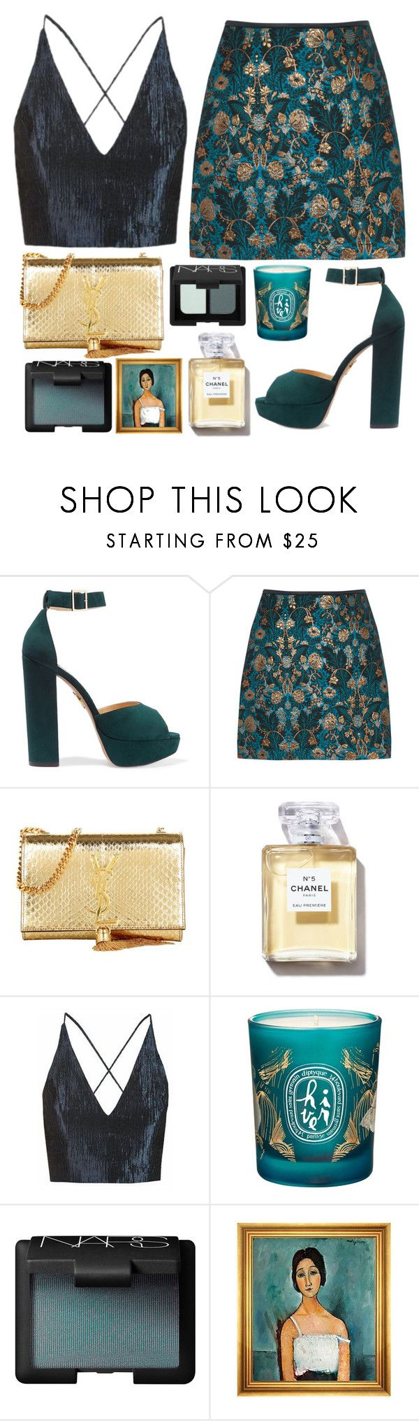 """""""02.20"""" by mariimontero ❤ liked on Polyvore featuring Charlotte Olympia, Yves Saint Laurent, Chanel, Topshop, Diptyque, NARS Cosmetics and Munn Works"""