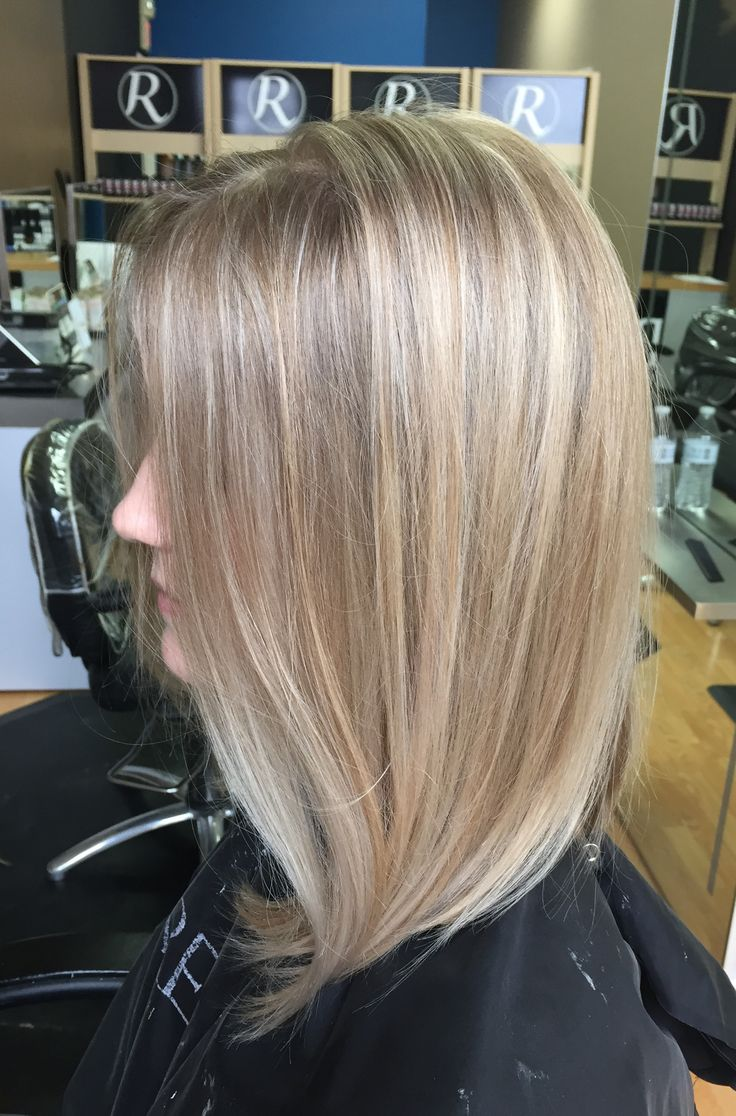 Blonde hair, highlight, balayage, redken, mid length ...