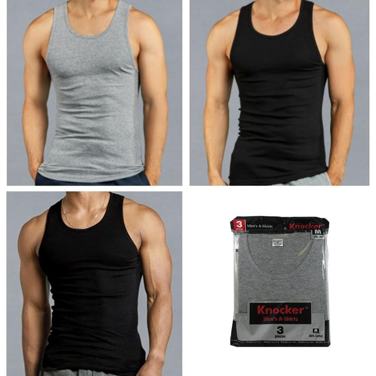 3 Men Black Grey Tank Top 100% Cotton A-Shirt Wife Beater Ribbed Pack Undershirt