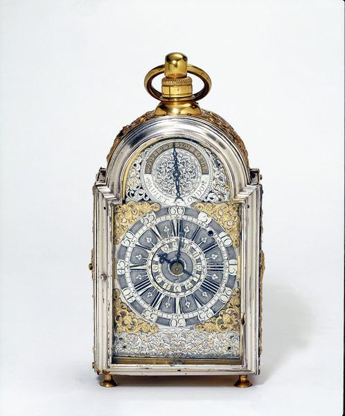 "1710 British Bracket clock at the Victoria and Albert Museum, London - From the curators' comments: ""Small clocks such as this example are thought to have been used when travelling. Too large to be used in a carriage, they were designed to be carried from place to place. It has been suggested that they might well have been used on board ship, fitted into a case fixed to the wall of a cabin."""