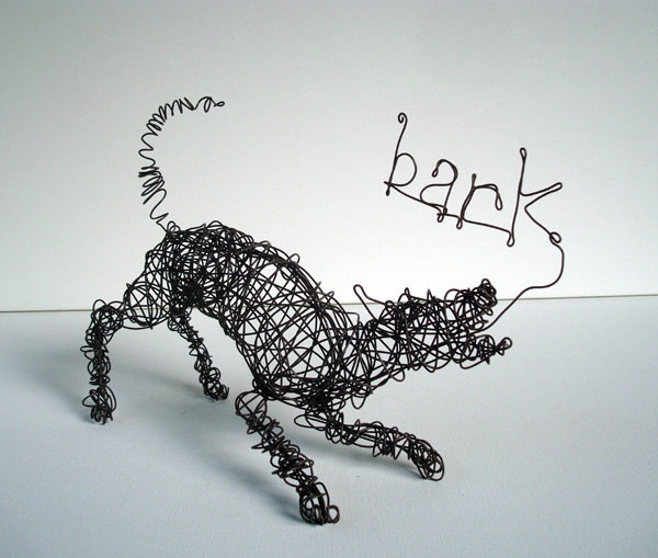 Play Bow - Barking Dog - One of a Kind Wire Dog Sculpture. $68.00, via Etsy.