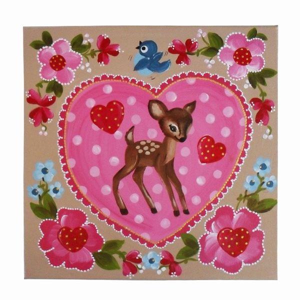 Schilderij met bambi in hartje met vogel en bloemen  40cmx40cm bron: kinderwebwinkel.com