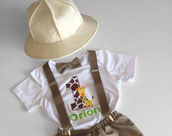 1er cumpleaños niño traje selva Safari Explorer pastel traje