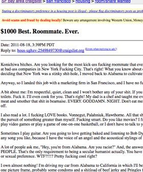 The Craziest Craigslist Roommate Ad Youve Ever Read Roommate - May best craigslist ad car ever