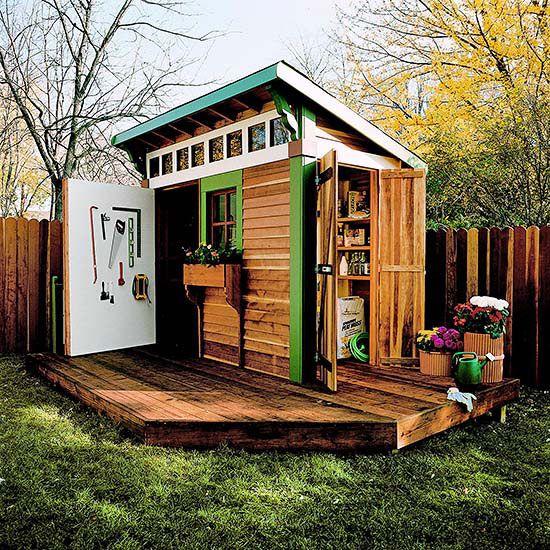 17 best images about backyard sheds on pinterest garage for Garden shed on decking