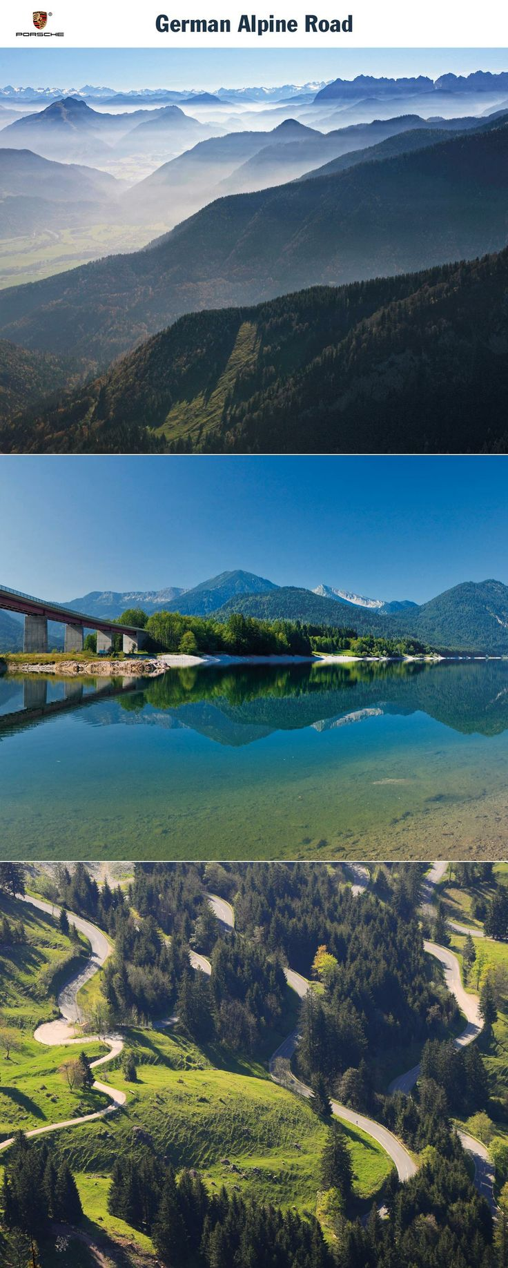 German Alpine Road, Germany. Viva Bavaria: 500 km from Lake Constance to the Königssee. Start: Lindau. Destination: Königssee. Driving time: Approx. 8.5 hours. Distance: Approx. 500 km (311 miles). Recommended travel time: April - October.   Learn more: http://link.porsche.com/gts/germany