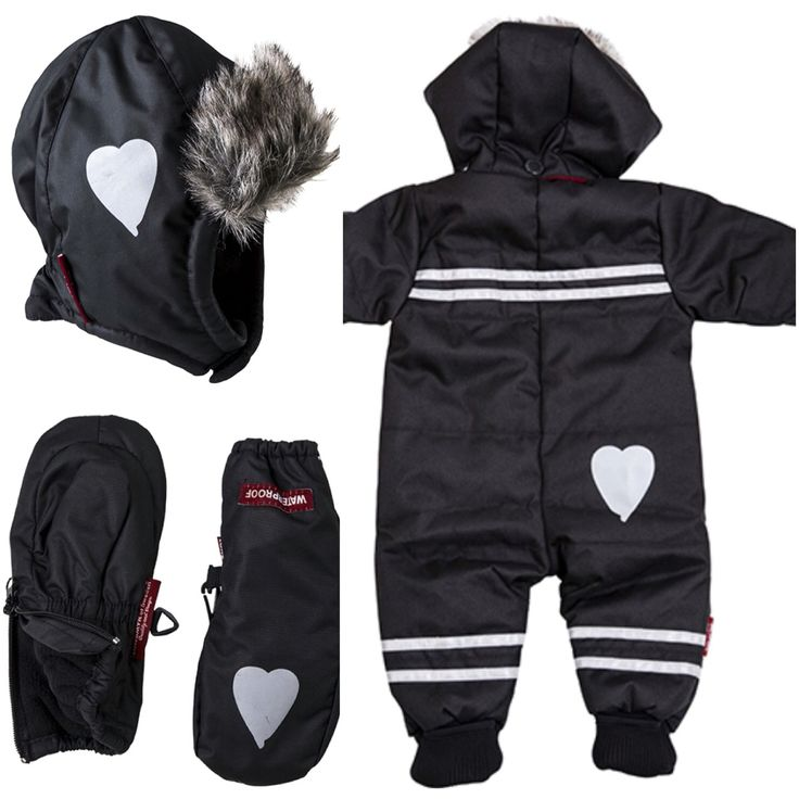 Winter overall from LUNDMYR of Sweden with cutiest heart reflectors. Made in repellent  Oxford nylon. Lining in dark red polar fleece.Sizes 50-80 have heart-shaped reflector on the rear,  size 90-120 has star-shaped reflector. Reflector bands in a low position on the legs. Insulated with polyester down. Practical, foldable cuffs by the wrists and ankles in the smaller sizes (50-80). Detachable hood and adjustable waistline. Available in sizes: 50-120. Matching winter hat and gloves. ❤️