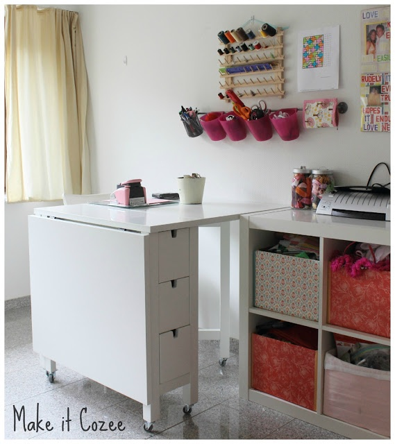 Craft room inspiration. [IKEA 'NORDEN' - Gateleg table with castors added to the bottom of the legs.]