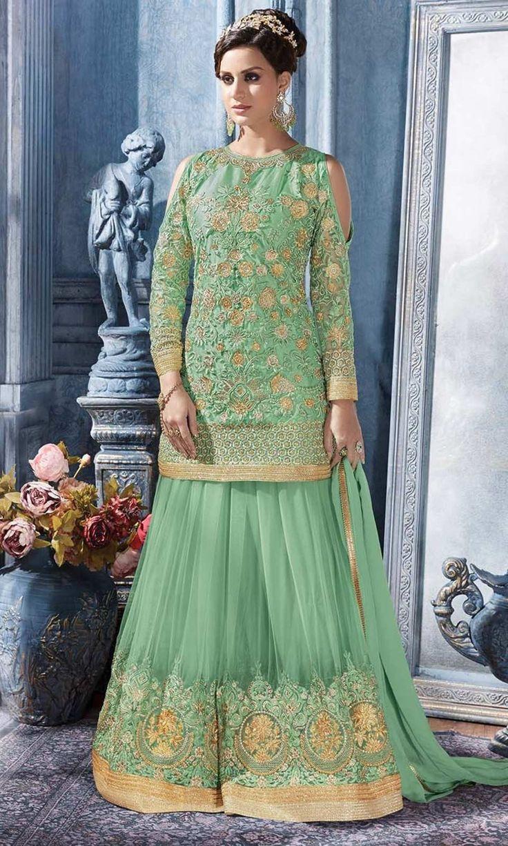 Buy online Green Designer Floor Length Suit (SKU Code : SUEBRSYB-S85) at Ishimaya Fashion.