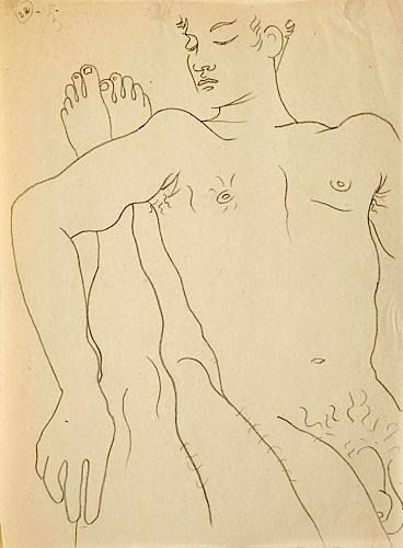 Drawing by Jean Cocteau for Jean Genet's Querelle de Brest