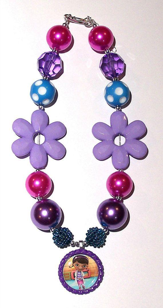 Doc McStuffins Purple Aqua Pink Flower Sequin Pearl Rhinestone Girls Chunky Necklace, Girls Big Bead Necklace,  Girls Necklace