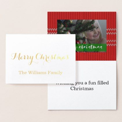 Merry Christmas Red Sweater Foil Card - Xmas ChristmasEve Christmas Eve Christmas merry xmas family kids gifts holidays Santa