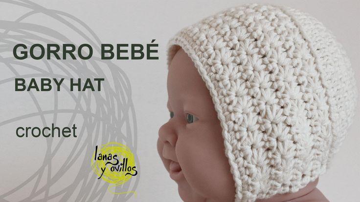 http://www.lanasyovillos.com Tutorial de cómo hacer un gorro vintage a crochet para bebé. Encuentra este patrón y muchos más en http://www.lanasyovillos.com