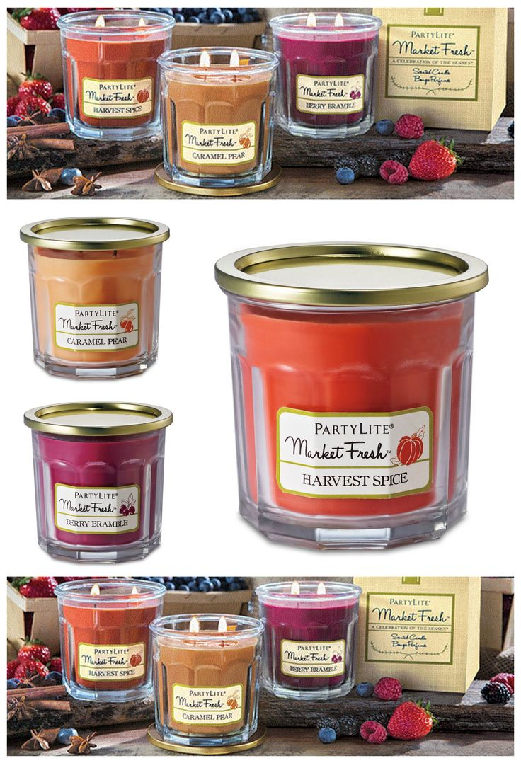 """Celebrate the harvest season with scents fresh from the Farmers' Market! Enjoy three new """"farm-to-table"""" fragrances packaged in endearing glass jelly jars. Berry Bramble simmers sweet, ripe berries with a touch of wood notes. Caramel Pear is a perfect confection of juicy pears coated with butterscotch and caramel. Harvest Spice warms just-picked apples and pumpkins with spices, woods and vanilla. Each harvest fruit-inspired scent is ripe for the picking at PartyLite.com."""