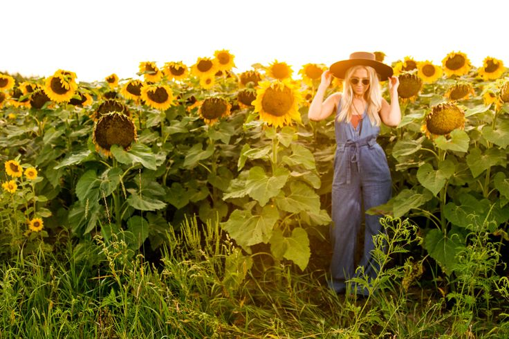 Free People overalls and sunflowers on The Boyish Girl