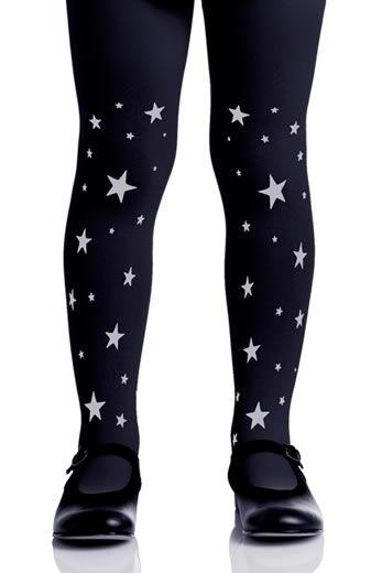 Collant Stars. Stampa grigio su collant nero scuro. Collant nero scuro opaco - 120 denari. Stampa grigio su due gambe davanti e dietro.