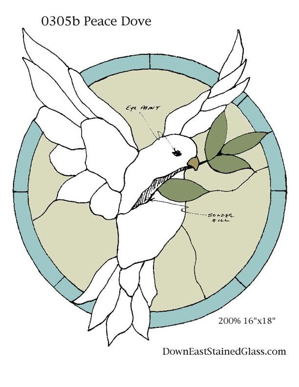Stained Glass Pattern Club~ Peace Dove Stained Glass Pattern. Great source for free stained glass patterns.