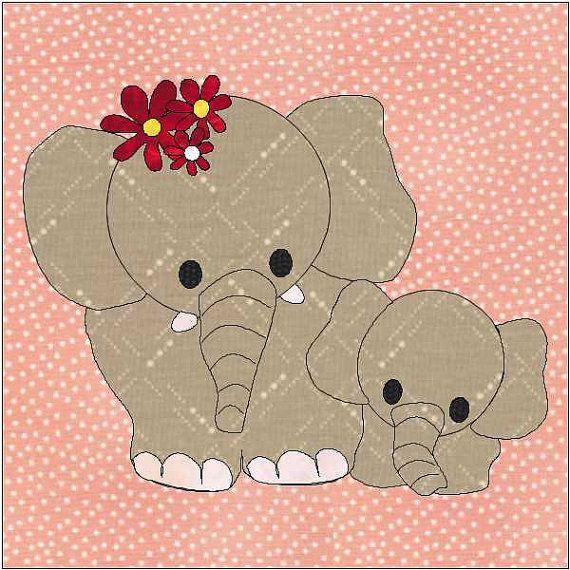 Madre y bebé elefantes edredón bloque colcha Appliqué descargable PDF instantánea patrón. bloque final de 6 x 6 pulgadas.  Diseño mis patrones para el principiante o experimentados quilters que quieren un bloque de la colcha rápida y fácil para hacer. La mayoría puede ser hecha usando desechos, rollos o incluso grasa plazas. Sus ideas creativas son infinitas al usar sus propios esquemas de color y telas.  Este bloque de la colcha puede ser usado solo o añadido a un tejido que se está…
