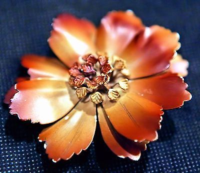 Vintage-Enmeled-Muave-Autumn-Chocolate-Brown-Flower-Brooch-2-5-in-391
