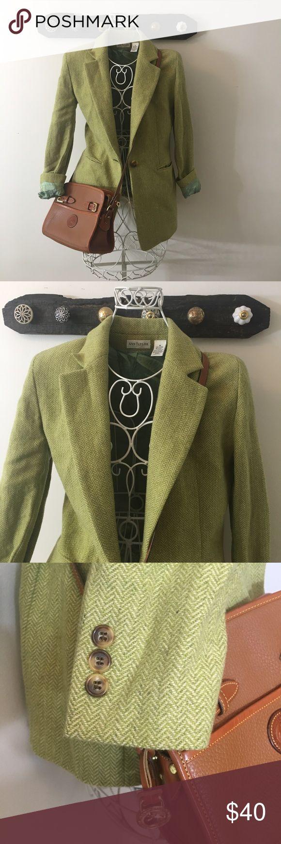 Ann Taylor Wool Blazer Gorgeous Chartreuse Green will Blazer by Ann Taylor. Lining is mint green and 💯 silk. Gorgeous Blazer for fall 2017! Ann Taylor Jackets & Coats Blazers