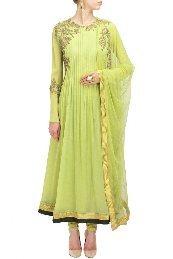 This anarkali suit is featuring a mint green floral pattern embroidered with ruched detailing. This anarkali suit comes along with a matching lycra net churidar and an attached net dupatta. Fabric: Ge