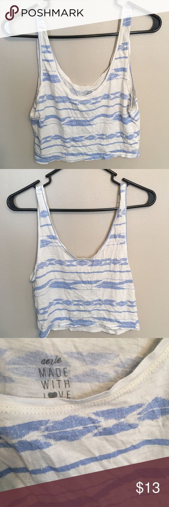 Aerie blue and white crop top Cropped tank top from Aerie | Good condition, no flaws aerie Tops Crop Tops