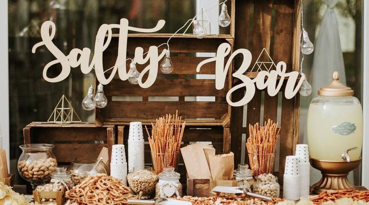 New wedding trend: Salty Bar instead of Candy Bar- Neuer Hochzeits-Trend: Salty Bar statt Candy Bar  Instead of gummy bears and cotton candy, wedding guests are now served salty snacks.   -#confectionerydrawings #confectionerydressing #confectioneryillustration #confectionerylogo #confectionerypainting