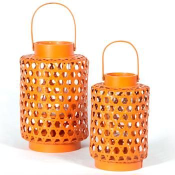 Rattan Barrel Lantern with Handle ~ Home Garden Decoration from Earth Homewares