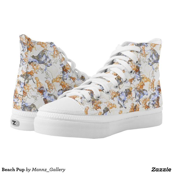 #Sneakers #Shoes #Beach #Pup Printed Shoes by Mannzie.  This design is about the colors, shapes and pattern but the whole design is made from a picture of a dog running. The dog was created using a photograph I had taken when I went walking at the beach one day. This dog had just been swimming in the ocean and came running back to shore to shake himself. He was having a real good time. Now he's been immortalized into art, on this pair of sneakers