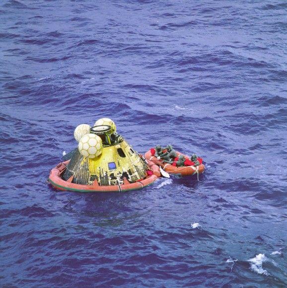 Apollo 11 Splashdown on July 24, 1969 Concludes 1st Moon Landing Mission