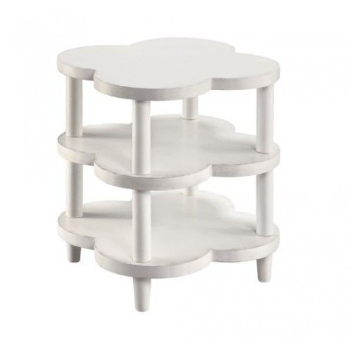 White Wood Clover Shape 3 Tier Accent Side Table White End Tables Accent Table End Tables
