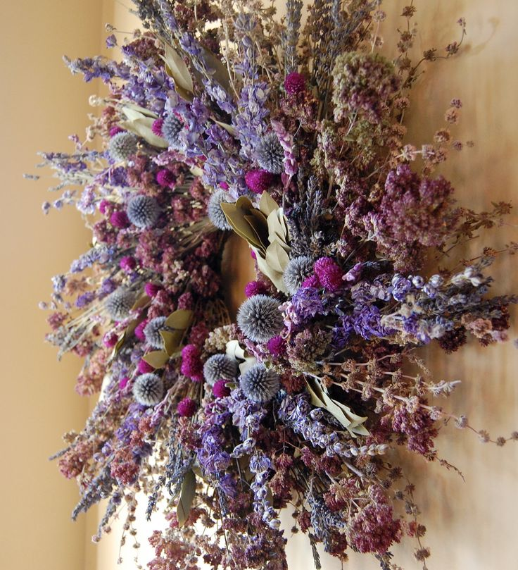 24 Inch Herb Wreath with Lavender, Oregano, Larkspur, Bay Laurel, Russian Sage, and Gomphrena. $89.95, via Etsy.