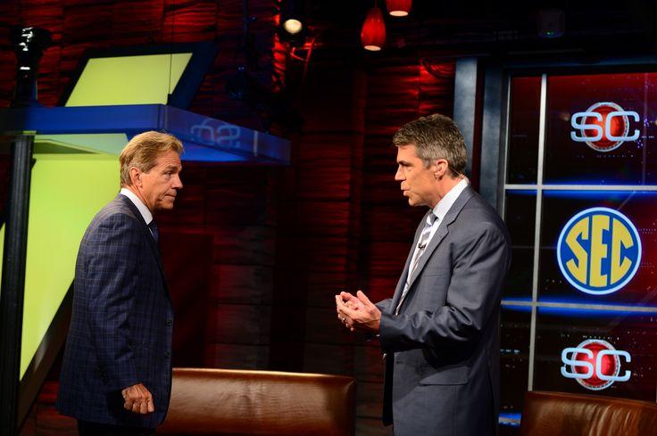 Alabama head coach Nick Saban talks with ESPN's Chris Fowler