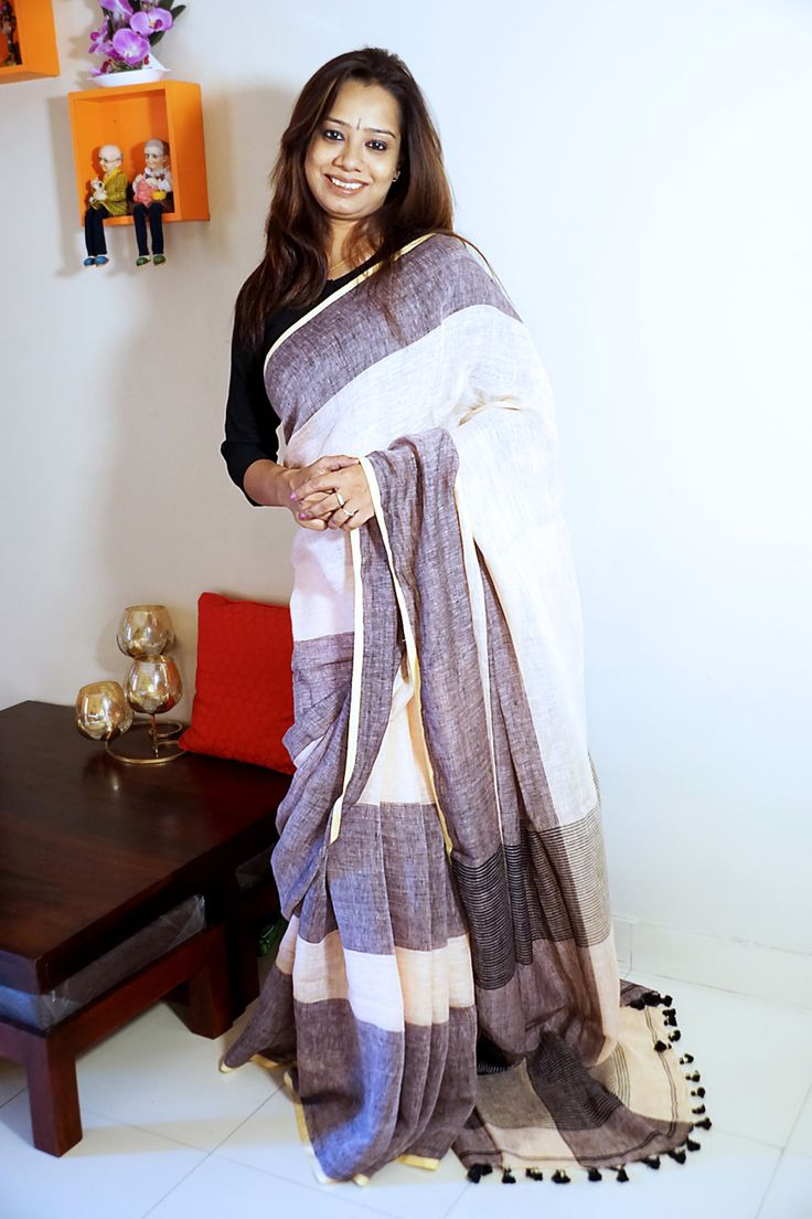 White n gray Pure Linen #Saree