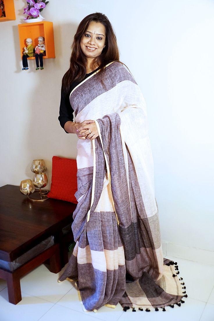 #Saree Pure black n white #Linen with Zari stripes on Pallu