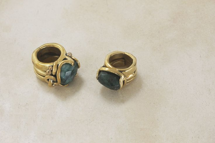 Brass ring with aventurine stone. This ring can come in different variations, the stone can be rock crystal, emerald root, angelite, amethyst. This series of rings was born as elegant  defense weapons.  https://www.etsy.com/listing/249333157/brass-ring-with-emerald-root-stone?ref=shop_home_active_6  All my jewels are made of raw untreated metals and stones and they are entirely hand made.