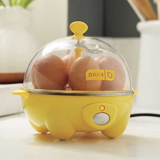 Modern technology takes on the egg. Now you can cook hard, medium, and soft-boiled eggs to consistent perfection, faster and easier. Special trays for poaching two or making omelettes and scrambles make this the all-in-one cooking solution for every egg preference. Faster than boiling water, this yolk-yellow appliance with view-through lid cooks up to six eggs in the boiling tray in 12 minutes or less with one-touch button operation. Easy-to-clean cooker signals when cooking is complete.