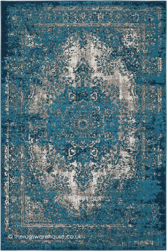 Aria Vintage Teal Rug, a teal & grey vintage style machine-woven modern advanced soft polypropylene rug (3 sizes) www.therugswarehouse.co.uk/traditional-rugs/aria-rugs/aria-vintage-teal-rug.html #rugs #interiors