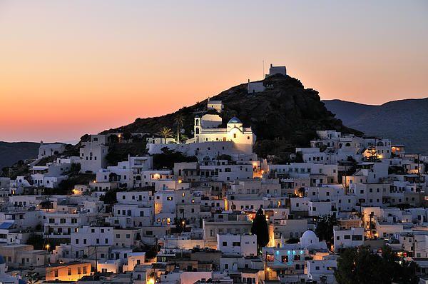 Sunset in Ios town, in Ios Island_ Greece