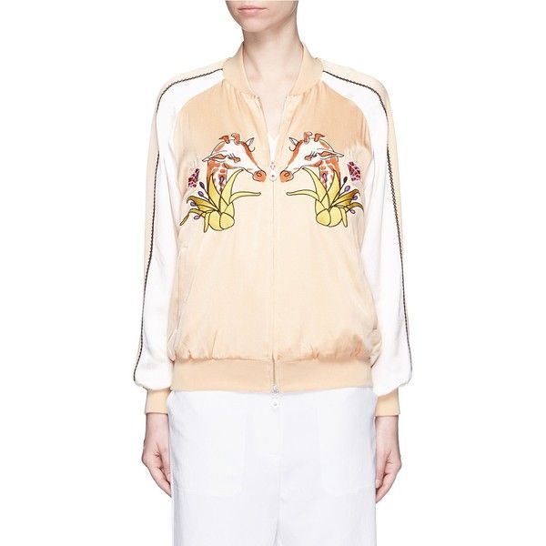 Helen Lee Giraffe embroidery appliqué silk bomber jacket ($630) ❤ liked on Polyvore featuring outerwear, jackets, pink, dressy jackets, silk embroidered jacket, bomber style jacket, pink bomber jacket and pink silk jacket