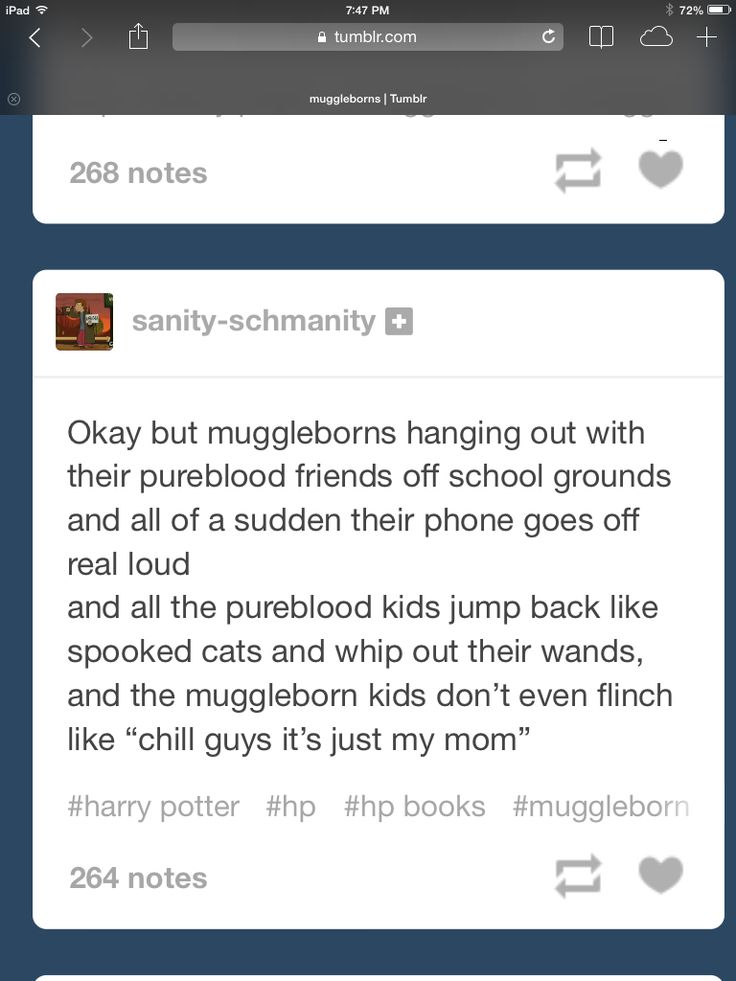 "Now imagine if the ringtone was this really happy theme song and the next time it goes off there is something more like the Supernatural theme and the pureblood is just ""It's making a different noise! How are you doing that?!"" and the muddleborn's just ""It's called a ringtone."""