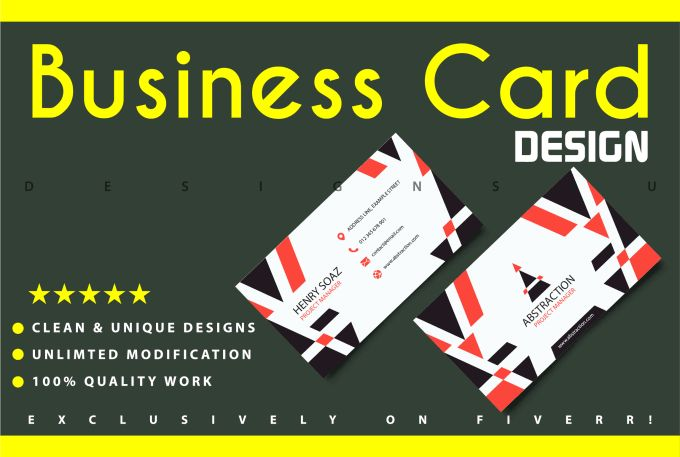 For only $5, I will design FANTASTIC and Unique Business Card. | WELCOME TO MY GIGIf you want a Business Card design which makes your company stand out, I have experience in creating memorable designs which will | On Fiverr.com