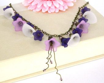 Purple Statement Necklace, Flower Necklace for Women, Handcrafted Jewelry, Beaded Chain Necklace, Short Necklace, Costume Jewelry Necklace