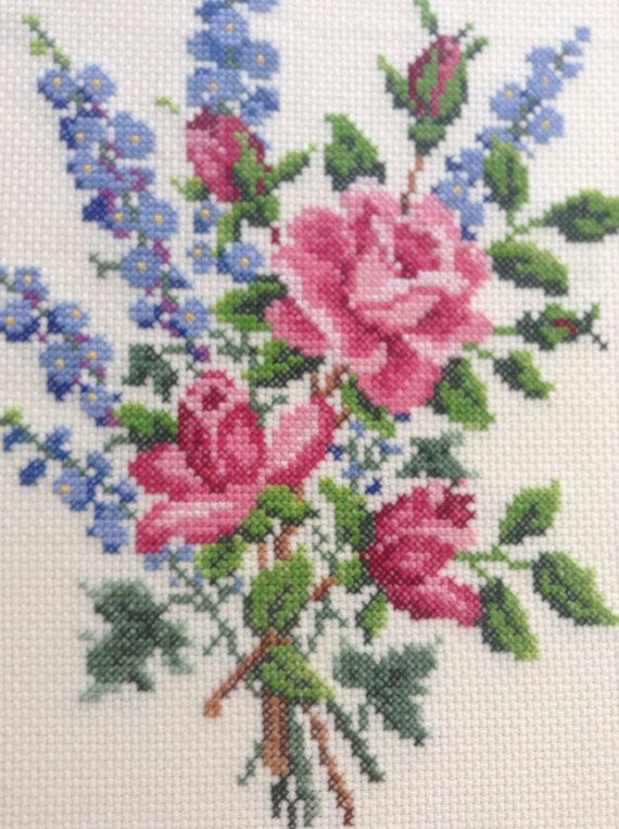 Vintage Rose Needlepoint in Wooden Frame by BlueRidgeRevivals