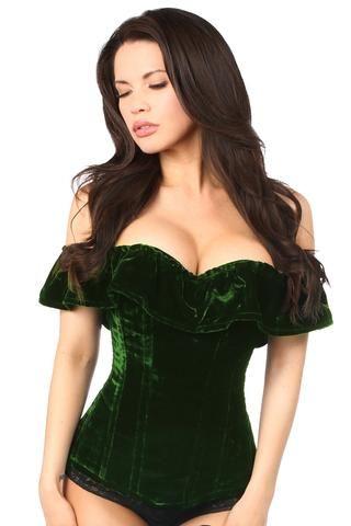 7af9e52f16 Top Drawer Premium Dark Green Velvet Off-The-Shoulder Steel Boned ...