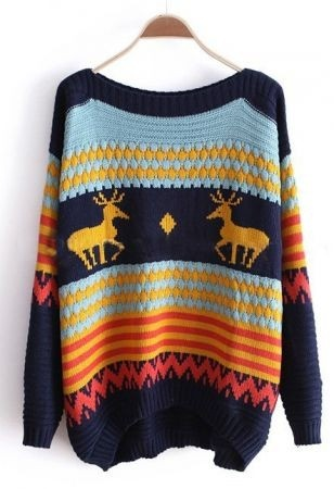 Multi-color Round Neck Stripped Reindeer Print Knitted Pullover