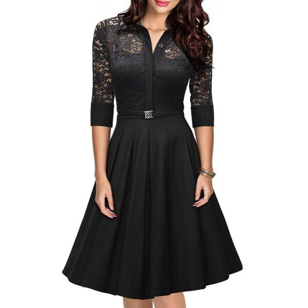 Wholesale Women's Stylish 3/4 Sleeve Lace Splicing A-Line Dress Only $8.04 Drop Shipping | TrendsGal.com