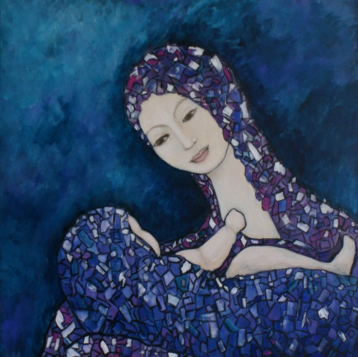'Mother and Child' Acrylic on canvas, 61cm x 61cm.  this painting donated to local fundraising