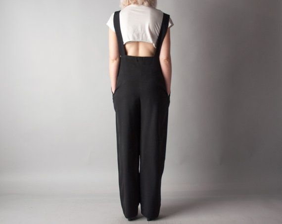 JILL RICHARDS black suspender pant overalls / by persephonevintage